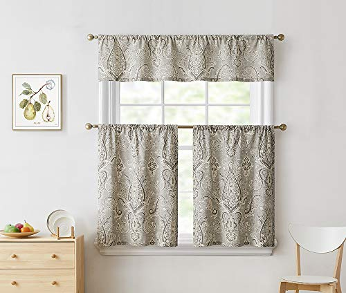 Bourina Gray Kitchen Curtain Tier and Valance Set Cotton Floral Printed Textured for Windows Cafe Curtains,Sand, 24 in. L