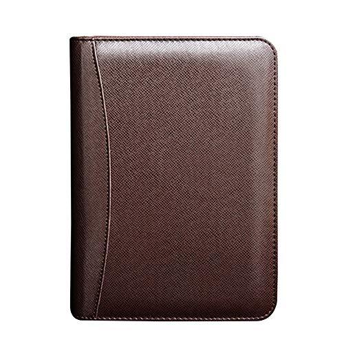 Portfolio-Mappe Portfolio-Halter A6 Business Reißverschluss Tasche Notizblock Loseblatt-Manager Einschulung Taschenrechner braun