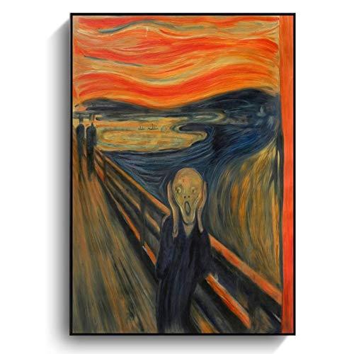 5D Pintura de Diamante Arte,Edvard Munch Scream pintura al óleo abstracta clásica sobre lienzo carteles artísticos e impresiones cuadro de pared para decoración de cuadros de sala de estar