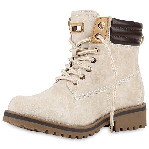 SCARPE VITA Gefütterte Damen Worker Boots Outdoor Stiefeletten Profilsohle 165539 Creme Gefüttert 37