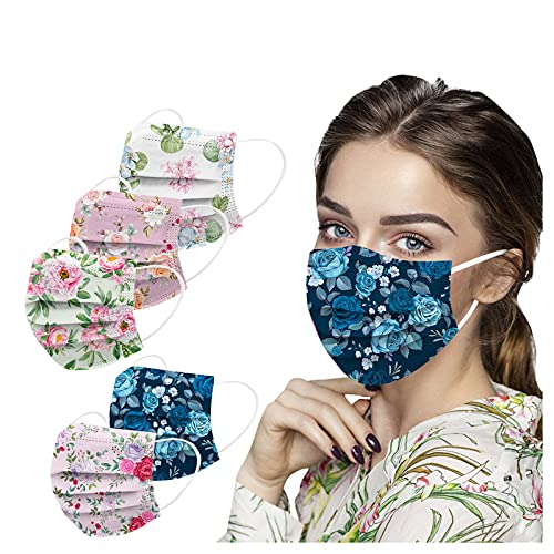 50PC Floral Print Disposable Face_M'ask for Adult, 3-Ply Colorful Flowers Breathable Face Bandana with Nose Wire for Glasses Wearers, Protective Face Bandana with Printed Design for Holiday Party