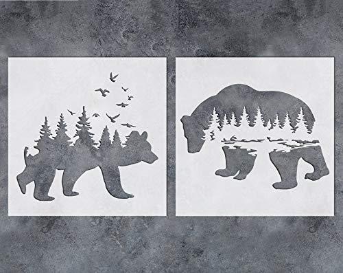 GSS Designs plantilla de oso bosque de montaña (2 unidades) – Plantilla reutilizable para paredes (12x12'') – pintura artística para pared lienzo muebles tarjetas decoración (SL-060)