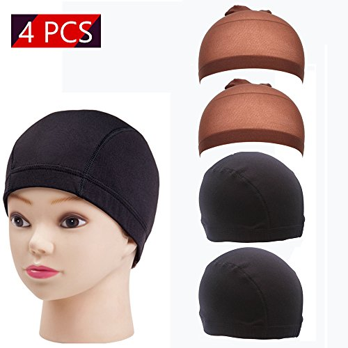 Soft Silk Wig Cap, Neutral Dome Style Wig Cap, Stretch Hair Care Cap Spandex Dome Cap, Mesh Dome Cap Wig Making Caps Costume Wig Cap Wig Accessories ( 2 Pcs Silk Wig Cap, 2 Pcs Mesh Dome Cap )