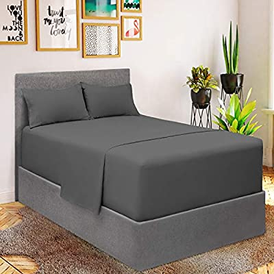 Mellanni Extra Deep Pocket Sheets - King Size Sheet Set - 4 Piece 1800 Brushed Microfiber Bedding with Extra Deep Pocket Fitted Sheet - Easily Fits 18-21 inch Mattress (King, Gray)