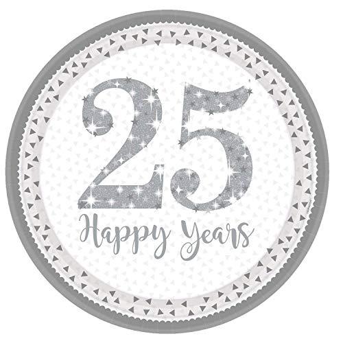 Neu: 8 Party-Teller * 25 Jahre * für die Silberhochzeit | Jubiläum Silber Glitter Hochzeit Heirat fünfundzwanzig Feier Partyteller Pappteller Motto