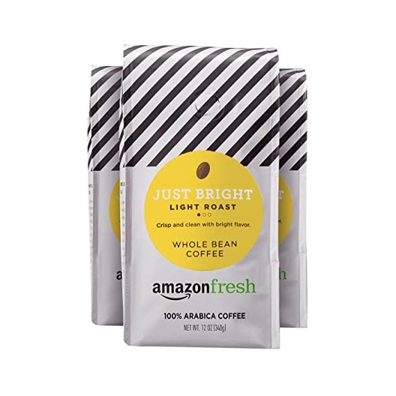 AmazonFresh Just Bright Whole Bean Coffee, Light Roast, 12 Ounce (Pack of 3) 1 Light roast with a crisp and clean flavor One 32-ounce bag of whole bean coffee 100% Arabica coffee grown in Central and South America