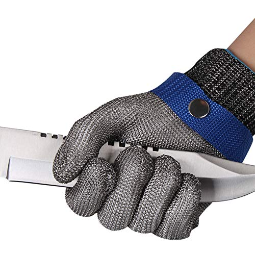Schnittfeste Handschuhe-XHZ Einzelne Anti-Schneid-Sicherheitshandschuhe Aus Edelstahldraht, Schneid-, Fischtötungsschutzhandschuhe, Silber, Größe: XS - XXXL (Size : Large)