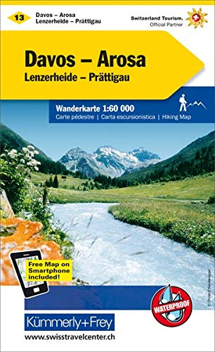 Davos - Arosa, Lenzerheide-Prättigau Wanderkarte Nr. 13: 1:60000, waterproof, Freemap on Smartphone included (Kümmerly+Frey Wanderkarten)