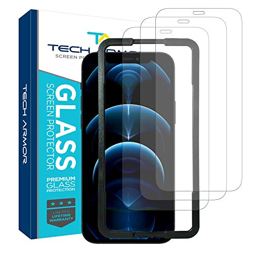 """Tech Armor Ballistic Glass Screen Protector for Apple NEW iPhone 12 Pro Max (6.7"""") - Case-Friendly Tempered Glass [3-Pack], Haptic Touch Accurate Designed for iPhone 12 Pro Max (6.7"""")"""