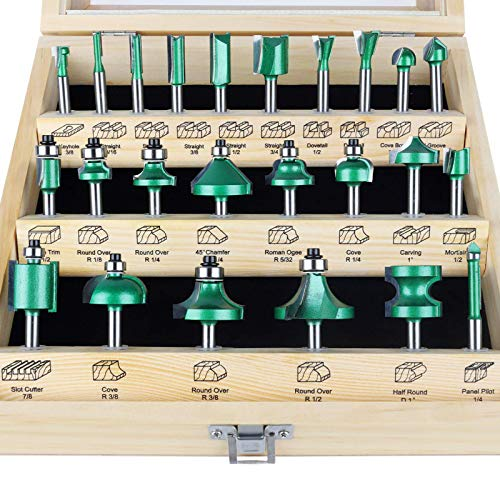 KOWOOD Pro Router Bits Sets of 24Z Pieces 1/4 Inch Shank, Professional Woodworking Tools