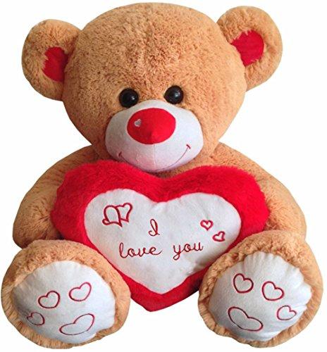 TE-Trend Teddy Bear XXL Teddybär Benny Riesen Kuscheltier Herz Herzkissen I Love You Stofftier 80cm Braun