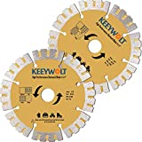 """KEEYWOLT 2Pcs Diamond Saw Blade 4.5 inch for Power Grinder Dry Cutting to Trim Tile Porcelain Masonry Granite Marble Concrete-5/8' Arbor-Serrated Blade- (114mm 4-1/2"""")"""