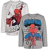 Marvel Avengers Spiderman Little Boys Kids 2 Pack Long Sleeve Graphic T-Shirt 6 Gray/White