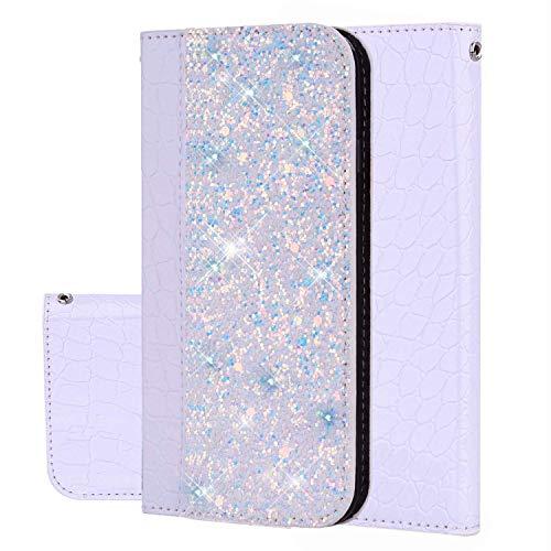 Felfy Kompatibel mit Galaxy J7 Prime Hülle Case,Kompatibel mit Galaxy On7 2016 Tasche Glitzer Glänzend Handyhülle Premium PU Leder Brieftasche Schutzhülle Flip Cover mit Kartenfächer,Weiß