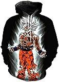 Unisex Hoodie Dragon Ball Z Goku Impresión 3D Pullover Sudadera con capucha Hombres Mujeres Moda Casual Sudaderas con capucha con grandes bolsillos (Color : 4, Size : L)