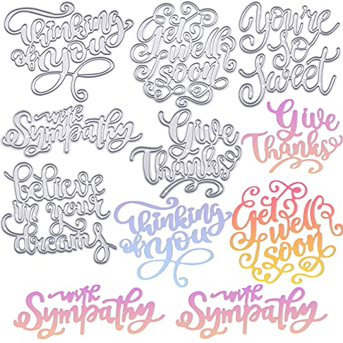6 Pieces Words Metal Die Cuts Stencils Embossing Stencil Template Moulds Thinking of You Cutting Dies Believe in Your Dreams Dies Stencils with Sympathy Word Cutting Dies for DIY Scrapbooking Cards