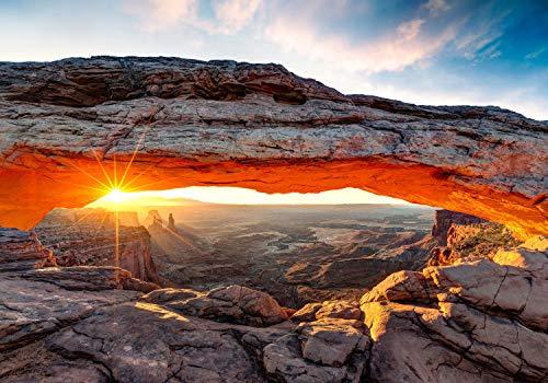 wandmotiv24 Fototapete USA landschaften, Mesa Arch , XXL 400 x 280 cm - 8 Teile, Fototapeten, Wandbild, Motivtapeten, Vlies-Tapeten, Amerika M0275
