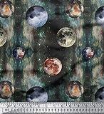 Soimoi Grun Baumwoll-Voile Stoff Mond & Planeten Galaxis