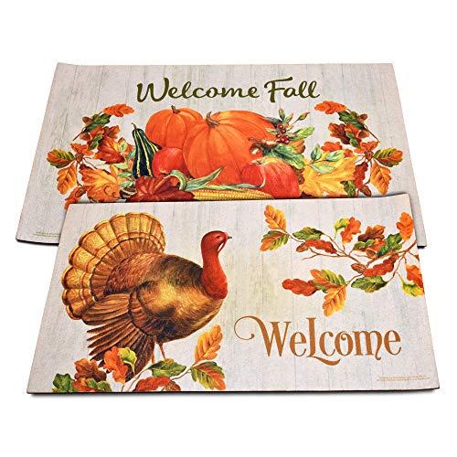 "Gift Boutique Thanksgiving Welcome Fall Door Mats Set of 2 Harvest Turkey Floor Rugs for Indoor Outdoor Home Garden Lawn Autumn Pumpkin Leaves Rubber Doormat Holiday Front Entrance Decor 30""x 17.75"""