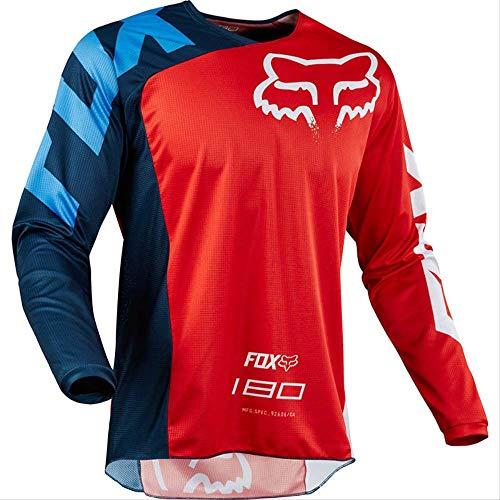 DSFA Abfahrtskleidung Mountainbike-Fahrradbekleidung Herren Langarm-Sommer-Offroad-Motorradbekleidung Atmungsaktive, Schnell Trocknende Kleidung XL Rot