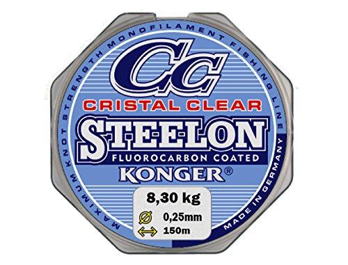 Konger Cristal Clear - Sedal de pesca (revestimiento de fluorocarbono, 0,12-0,50 mm, 150 m, monofilamento, 0,35 mm, 14,20 kg)