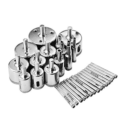 30Pcs Diamond Drill Bits Glass Hole Saw Drill Bit Set Cutting Remover Tools for Glass Porcelain Tile Ceramic Marble Granite Bottles DIY(6mm-50mm)