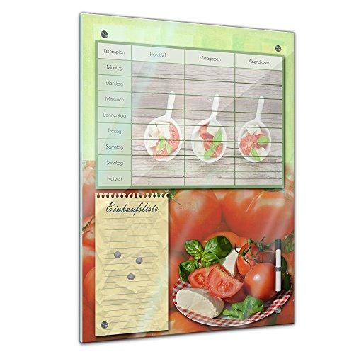 Memoboard 60 x 80 cm, Planer - Tomate und Mozarella - Memotafel Pinnwand Essensplaner für die ganze Familie - Essenplaner - Übersicht -Wochenplaner - Kochen - essen planen - Familienplaner