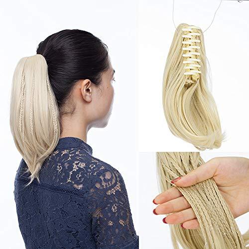 SEGO Extension Queue de Cheval Fausse Naturel Ponytail Cheveux Fibre Meche Postiche Synthetique - [Pince Tresse] 28 CM Blond Platine 11 pouce - Court Raide Lisse