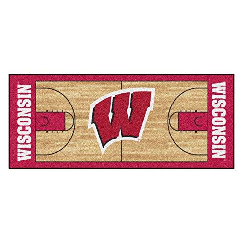 "FANMATS - 8176 NCAA University of Wisconsin Badgers Nylon Face Basketball Court Runner 30""x72"""