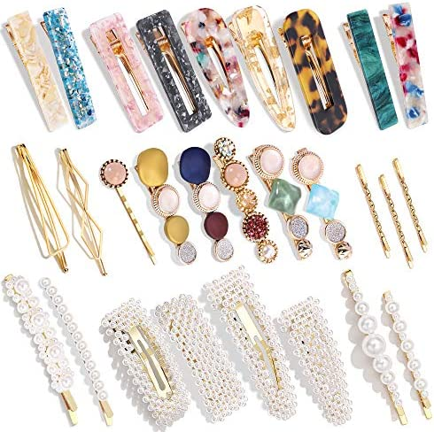 28 PCS Hingwah Pearls and Acrylic Resin Hair Clips Handmade Hair Barrettes Marble Alligator product image