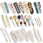 Beauty Shopping 28 PCS Hingwah Pearls and Acrylic Resin Hair Clips, Handmade