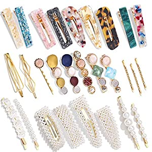 Beauty Shopping 28 PCS Hingwah Pearls and Acrylic Resin Hair Clips, Handmade