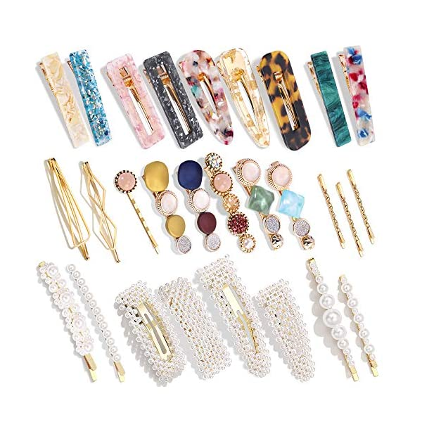 Beauty Shopping 28 PCS Hingwah Pearls and Acrylic Resin Hair Clips, Handmade Hair Barrettes, Marble