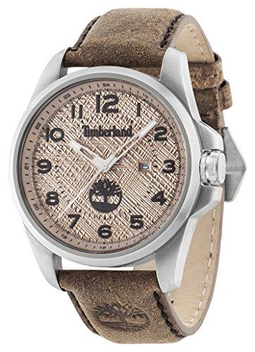 Timberland Leyden–Reloj de Cuarzo para Hombre con Esfera analógica y Beige Correa de Piel marrón Oscuro 14768js/07