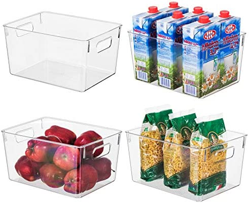 EAMAOTT Clear Plastic Storage Organizer Container Bins with Cutout Handles Transparent Set of product image