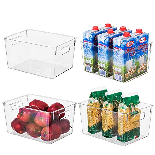 "EAMAOTT Clear Plastic Storage Organizer Container Bins with Cutout Handles, Transparent Set of 4 | BPA Free, Closet Kitchen Cabinet Storage Bins for Pantry Refrigerator, 11"" x 8"" x 6"" Each"