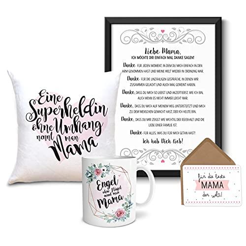 Geschenkset Danke Mama XXXL Bild im Holz-Rahmen A4 + Tasse + Kissen Geschenke Geschenkideen für Mama als Dankeschön Muttertag