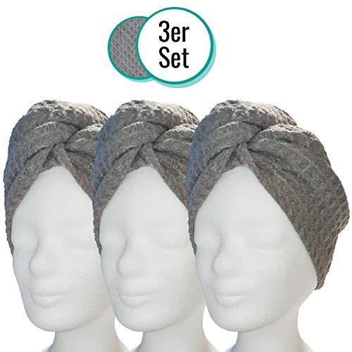 Lead Care Haarturban, Turban, Haartrockentuch, 3er Set - schnell trocknendes Mikrofaser Trockentuch mit Knopf (3er Set anthrazit)