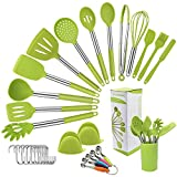 Juego de utensilios de cocina de silicona, 33 + 1 piezas Utensilios de cocina de silicona con pinzas, espátula, cucharas, turner, utensilios de cocina Utensilios de barbacoa con mango de silicona