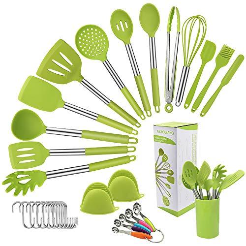 AYAOQIANG Silikon Küchenhelfer Set 33 pcs Kochset, Home Kitchen Cooking Tools hitzebeständig Küche Utensil Set, Zange, Schneebesen, Pfannenwender, Nudellöffel, Suppenkelle, Spatel.