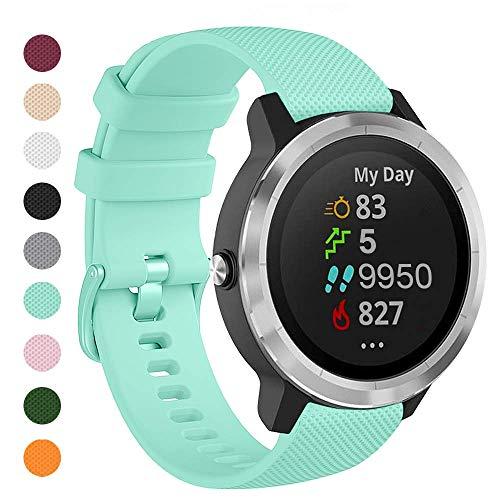 Onedream Correas Compatible para Garmin Vivoactive 4, Compatible con Samsung Galaxy Watch 3 45mm, Pulsera de Repuesto Band Deportivo Correa del Reloj Silicona Accesorios 22mm, Verde Azulado(Sin Reloj)