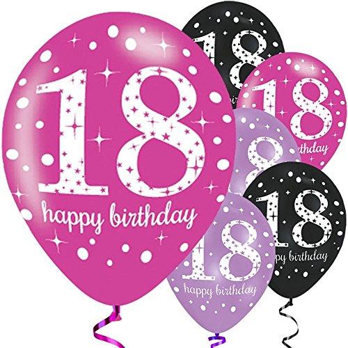 Feste Feiern Luftballon Deko 18. Geburtstag | 6 Teile Zahlenballon Ballon Pink Schwarz Lila metallic Helium Party Set Happy Birthday 18