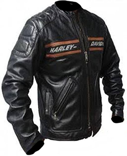 mega Bazar Giacca in Pelle Bill Goldberg Harley Davidson Nero Biker