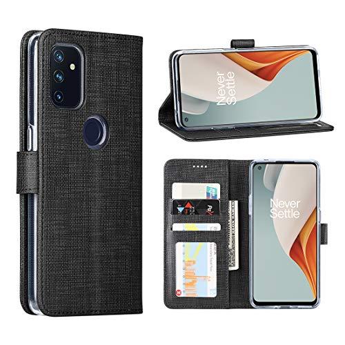 Foluu - Custodia a portafoglio per OnePlus Nord N100 5G, con scomparti per carte e funzione di supporto, antiurto, con scomparto per carte di credito per OnePlus Nord N100 5G (Black)