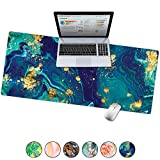 French Koko Large Desk Mouse Pad Desktop Mat, Home Office School Cute Decor Extended Laptop Big Writing Blotter Protector Computer Accessories Pretty Mousepad Women 31'x15' (Marble-lous Fierce)