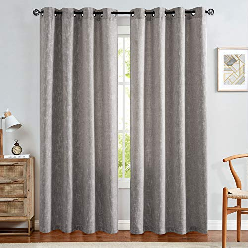 jinchan Linen Look Curtains for Bedroom Brownish Grey Curtain Panels for Living Room Window Treatment Set 95 inch Grommet Top 2 pcs