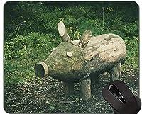 ラブリーピッグアンチスリップコンフォートゲーミングマウスパッド、イノシシ面白いかわいい貯金箱ゲーミングマウスパッド