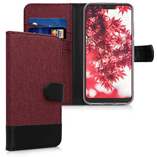 kwmobile Funda Compatible con Xiaomi Redmi 6 Pro/Mi A2 Lite - Carcasa de Tela y Cuero sintético Tarjetero Rojo Oscuro/Negro