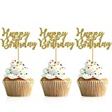 Package includes: 48 pieces of happy birthday cake toppers. They will add a classy touch to any birthday party No assembly required, you can easily dress up your party food table, put them into desserts, cookies, fruit pieces, appetizers and so much ...