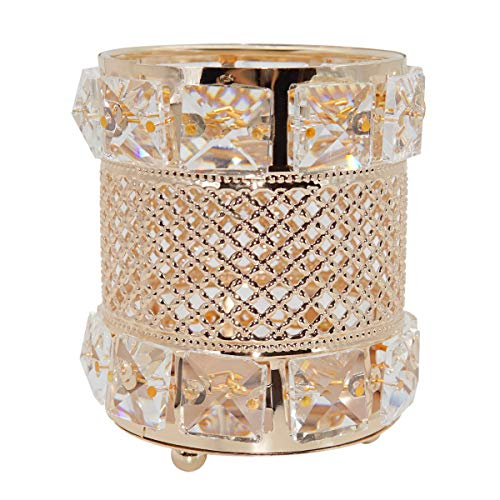 Golden Brush Holder Organizer Handcrafted Crystal Makeup Brush Holder Pen Pencil Storage Box Container (gold3)